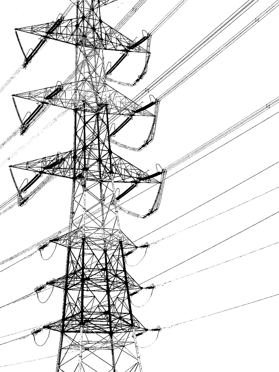 The electric tower photo converted to monotone high contrast